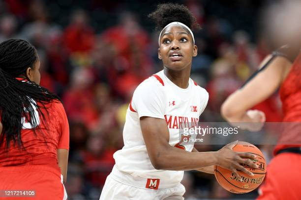 Kaila Charles of the Maryland Terrapins handles the ball against the Ohio State Buckeyes during the Championship game of Big Ten Women's Basketball...