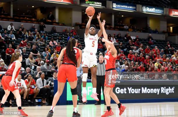 Kaila Charles of the Maryland Terrapins shoots the ball against the Ohio State Buckeyes during the Championship game of Big Ten Women's Basketball...