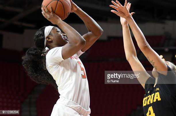 Kaila Charles of the Maryland Terrapins shoots the ball against the Iowa Hawkeyes at Xfinity Center on January 4 2018 in College Park Maryland