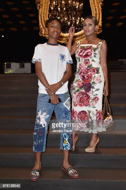 Kailand Morris and Kai Morris attend Dolce Gabbana DNA Evolution show at Milan Men's Fashion Week Spring/Summer 2019 on June 16 2018 in Milan Italy