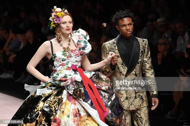 Kailand Morris and Karen Elson walk the runway at the Dolce Gabbana show during Milan Fashion Week Spring/Summer 2019 on September 23 2018 in Milan...