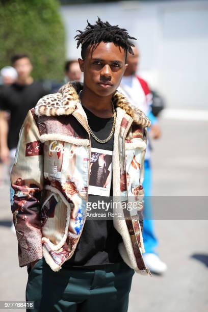 Kailand Morris arrives at Ih Nom Uh Nit SS19 Collection Presentation 'Midnight Special' on June 18 2018 in Milan Italy