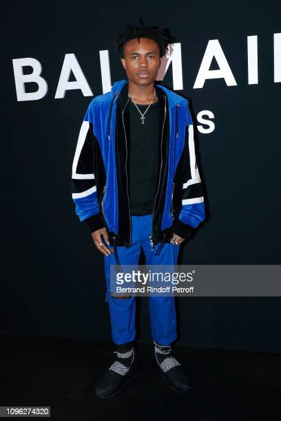 Kailand Morris attends the Balmain Homme Menswear Fall/Winter 20192020 show as part of Paris Fashion Week on January 18 2019 in Paris France