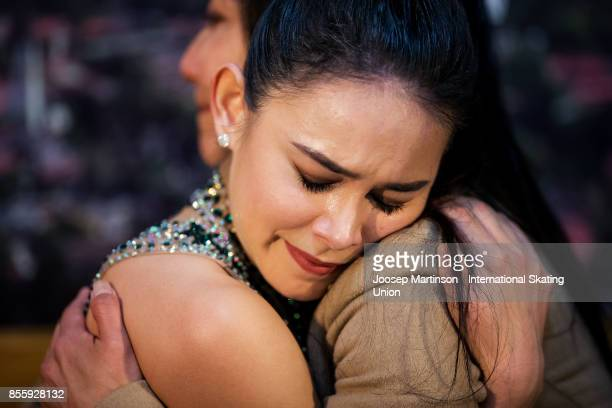 Kailani Craine of Australia reacts at the kiss and cry in the Ladies Free Skating during the Nebelhorn Trophy 2017 at Eissportzentrum on September 30...
