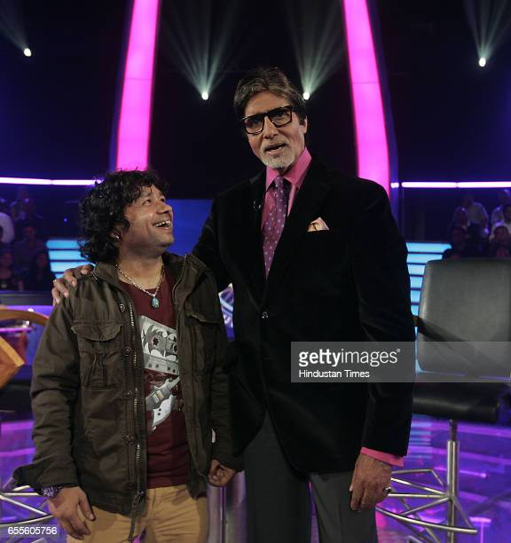 Kailash Kher and Amitabh Bachchan on the sets of KBC at film city Goregaon