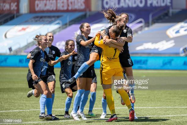 Kailen Sheridan of Sky Blue FC celebrates with her team during a game between Sky Blue FC and Washington Spirit at Zions Bank Stadium on July 18,...