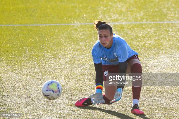 Kailen Sheridan of Sky Blue FC warms up before a game against the North Carolina Courage on day 8 of the NWSL Challenge Cup at Zions Bank Stadium on...