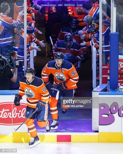Kailer Yamamoto and Connor McDavid of the Edmonton Oilers warm up before the games against the Detroit Red Wings at Rogers Place on November 5 2017...