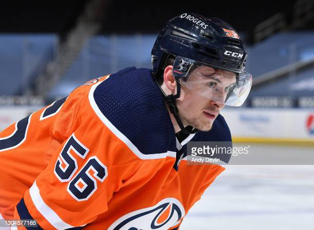 Kailer Yamamoto of the Edmonton Oilers awaits a face-off during the game against the Toronto Maple Leafs on February 27, 2021 at Rogers Place in...