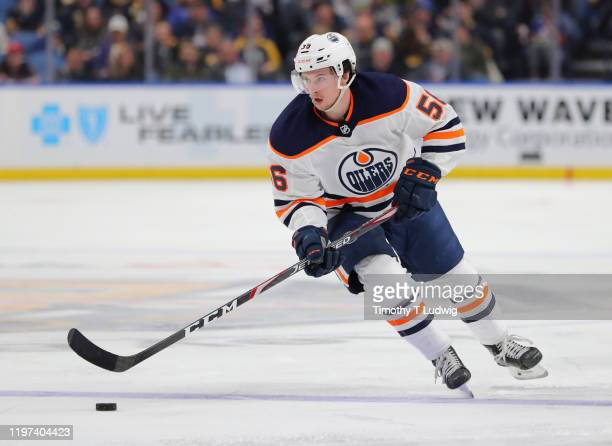 Kailer Yamamoto of the Edmonton Oilers carries the puck up ice against the Buffalo Sabres at KeyBank Center on January 2, 2020 in Buffalo, New York....