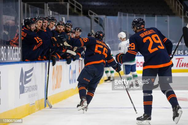 Kailer Yamamoto of the Edmonton Oilers celebrates a goal against the Vancouver Canucks at Rogers Place on January 13, 2021 in Edmonton, Canada.