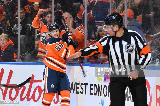 Kailer Yamamoto of the Edmonton Oilers celebrates after scoring a goal during the game against the Chicago Blackhawks on February 11 at Rogers Place...