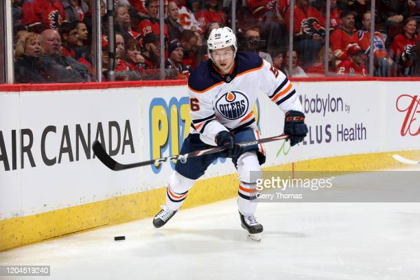 Kailer Yamamoto of the Edmonton Oilers plays against the Calgary Flames at Scotiabank Saddledome on February 01, 2020 in Calgary, Canada.