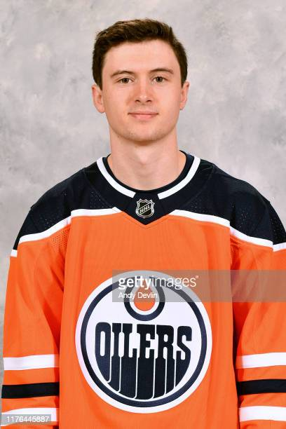 Kailer Yamamoto of the Edmonton Oilers poses for his official headshot for the 2019-2020 season on September 14, 2019 at Rogers Place in Edmonton,...