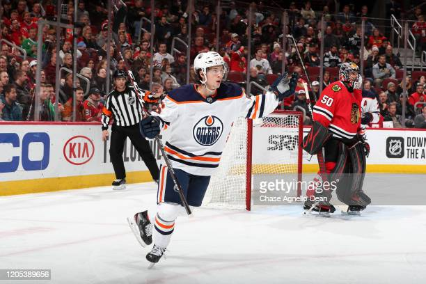 Kailer Yamamoto of the Edmonton Oilers reacts after scoring against the Chicago Blackhawks in the third period at the United Center on March 5, 2020...