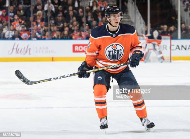 Kailer Yamamoto of the Edmonton Oilers skates against the Carolina Hurricanes on October 17 2017 at Rogers Place in Edmonton Alberta Canada