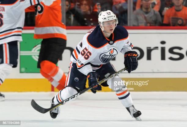 Kailer Yamamoto of the Edmonton Oilers skates against the Philadelphia Flyers on October 21 2017 at the Wells Fargo Center in Philadelphia...