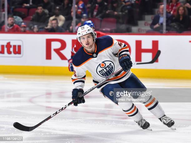 Kailer Yamamoto of the Edmonton Oilers skates against the Montreal Canadiens during the second period at the Bell Centre on January 9, 2020 in...