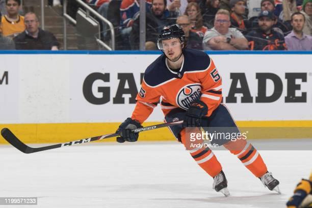 Kailer Yamamoto of the Edmonton Oilers skates against the Nashville Predators on January 14 at Rogers Place in Edmonton, Alberta, Canada.