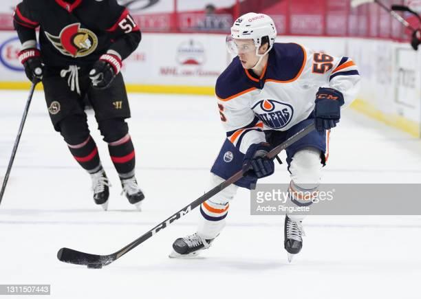 Kailer Yamamoto of the Edmonton Oilers skates against the Ottawa Senators at Canadian Tire Centre on April 7, 2021 in Ottawa, Ontario, Canada.