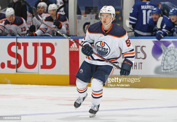 Kailer Yamamoto of the Edmonton Oilers skates against the Toronto Maple Leafs during an NHL game at Scotiabank Arena on March 27, 2021 in Toronto,...