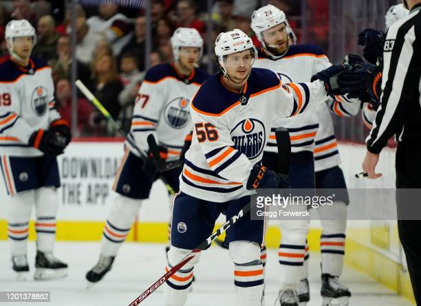 Kailer Yamamoto of the Edmonton Oilers skates back to the bench after scoring a goal against the Carolina Hurricanes during an NHL game on February...