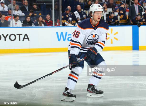 Kailer Yamamoto of the Edmonton Oilers skates during an NHL game against the Buffalo Sabres on January 2, 2020 at KeyBank Center in Buffalo, New York.