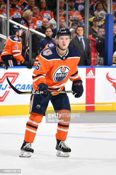 Kailer Yamamoto of the Edmonton Oilers skates during the game against the Pittsburgh Penguins on October 23, 2018 at Rogers Place in Edmonton,...
