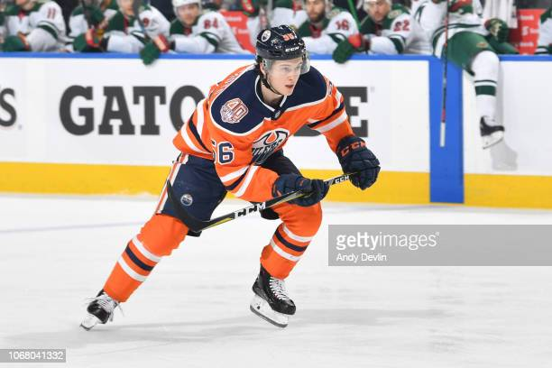 Kailer Yamamoto of the Edmonton Oilers skates during the game against the Minnesota Wild on October 30, 2018 at Rogers Place in Edmonton, Alberta,...