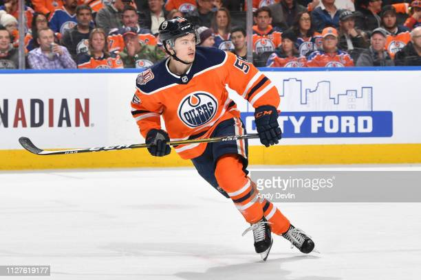 Kailer Yamamoto of the Edmonton Oilers skates during the game against the Carolina Hurricanes on January 20, 2019 at Rogers Place in Edmonton,...