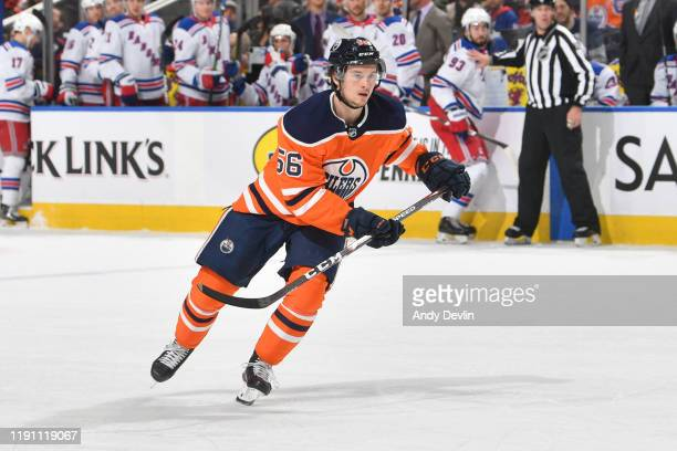 Kailer Yamamoto of the Edmonton Oilers skates during the game against the New York Rangers on December 31 at Rogers Place in Edmonton, Alberta,...