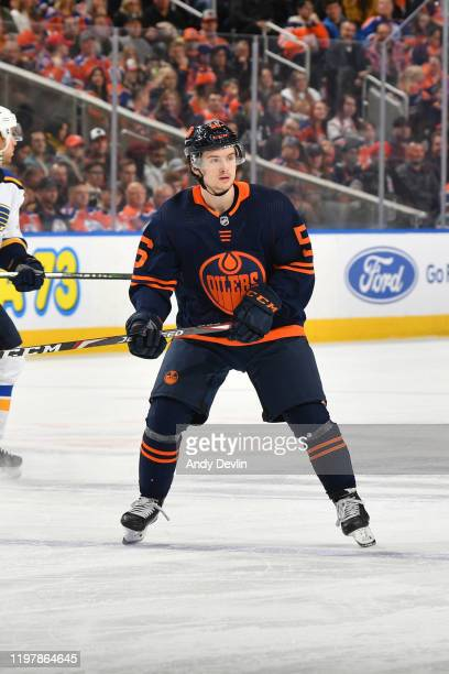 Kailer Yamamoto of the Edmonton Oilers skates during the game against the St. Louis Blues on January 31 at Rogers Place in Edmonton, Alberta, Canada.