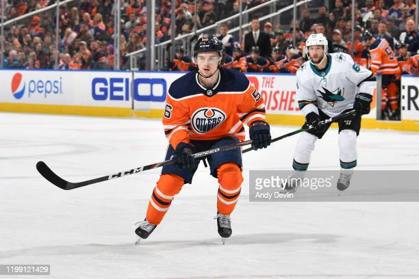 Kailer Yamamoto of the Edmonton Oilers skates during the game against the San Jose Sharks on February 6 at Rogers Place in Edmonton, Alberta, Canada.