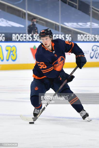Kailer Yamamoto of the Edmonton Oilers skates during the game against the Calgary Flames on May 1, 2021 at Rogers Place in Edmonton, Alberta, Canada.