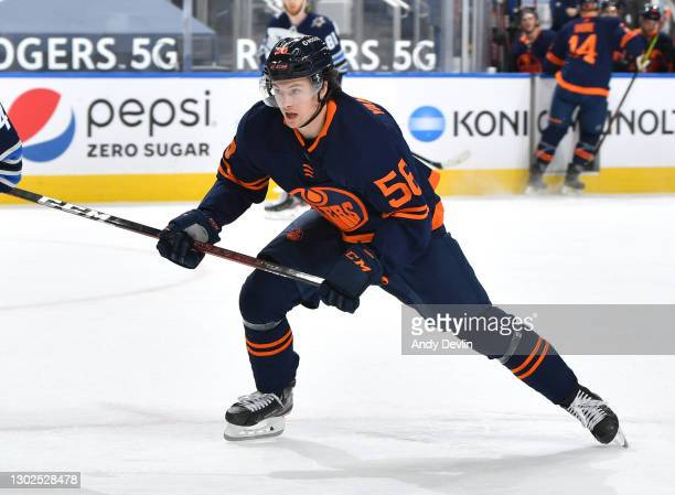 Kailer Yamamoto of the Edmonton Oilers skates during the game against the Winnipeg Jets on February 15, 2021 at Rogers Place in Edmonton, Alberta,...