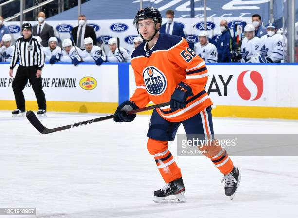 Kailer Yamamoto of the Edmonton Oilers skates during the game against the Toronto Maple Leafs on March 1, 2021 at Rogers Place in Edmonton, Alberta,...