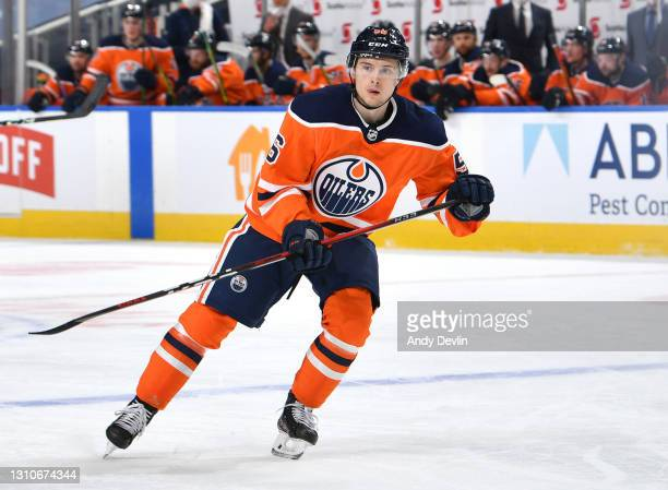 Kailer Yamamoto of the Edmonton Oilers skates during the game against the Calgary Flames on April 2, 2021 at Rogers Place in Edmonton, Alberta,...