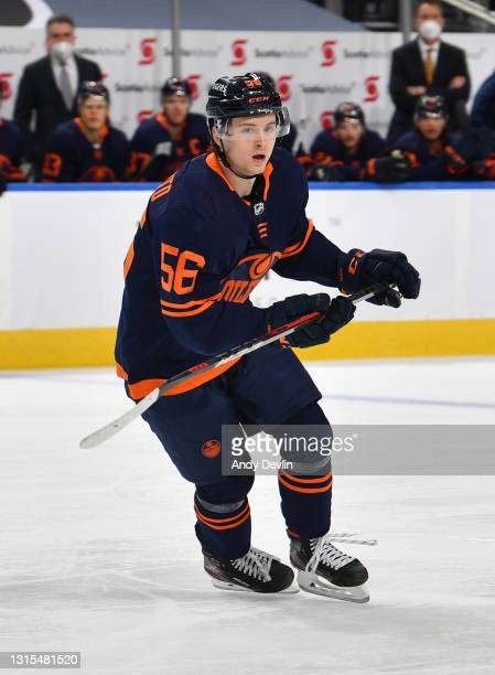Kailer Yamamoto of the Edmonton Oilers skates during the game against the Calgary Flames on April 29, 2021 at Rogers Place in Edmonton, Alberta,...