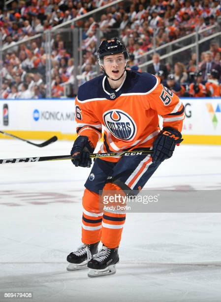 Kailer Yamamoto of the Edmonton Oilers skates during the game against the Calgary Flames on October 4 2017 at Rogers Place in Edmonton Alberta Canada