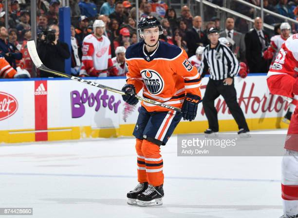 Kailer Yamamoto of the Edmonton Oilers skates during the game against the Detroit Red Wings on November 5 2017 at Rogers Place in Edmonton Alberta...