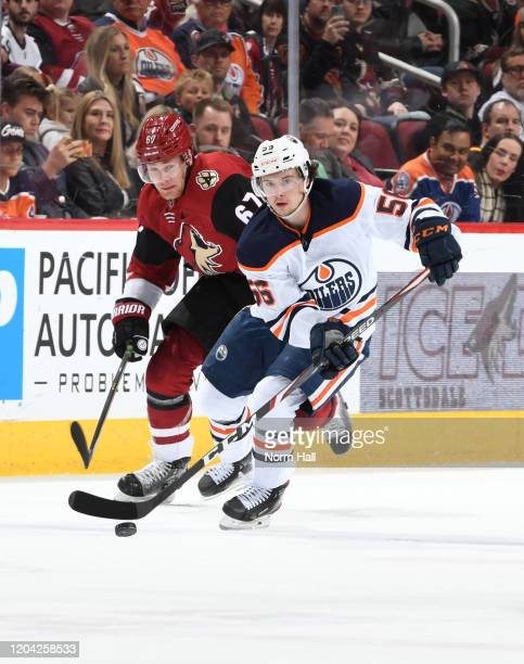Kailer Yamamoto of the Edmonton Oilers skates the puck up ice against the Arizona Coyotes at Gila River Arena on February 04, 2020 in Glendale,...