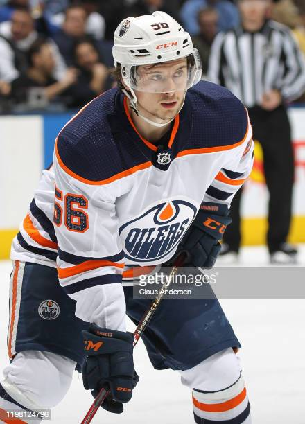 Kailer Yamamoto of the Edmonton Oilers waits for a faceoff against the Toronto Maple Leafs during an NHL game at Scotiabank Arena on January 6, 2020...