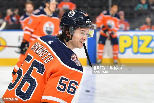 Kailer Yamamoto of the Edmonton Oilers warms up prior to the game against the San Jose Sharks on December 29, 2018 at Rogers Place in Edmonton,...