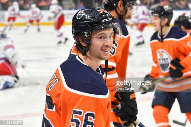Kailer Yamamoto of the Edmonton Oilers warms up prior to the game against the New York Rangers on December 31 at Rogers Place in Edmonton, Alberta,...
