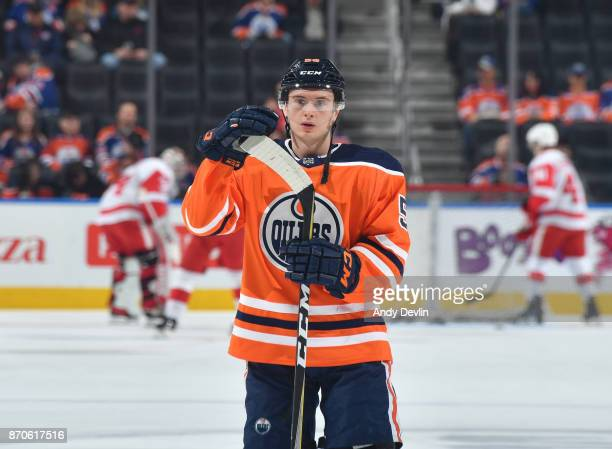 Kailer Yamamoto of the Edmonton Oilers warms up prior to the game against the Detroit Red Wings on November 5 2017 at Rogers Place in Edmonton...
