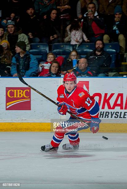 Kailer Yamamoto of the Spokane Chiefs passes the puck against the Kelowna Rockets on January 4, 2017 at Prospera Place in Kelowna, British Columbia,...