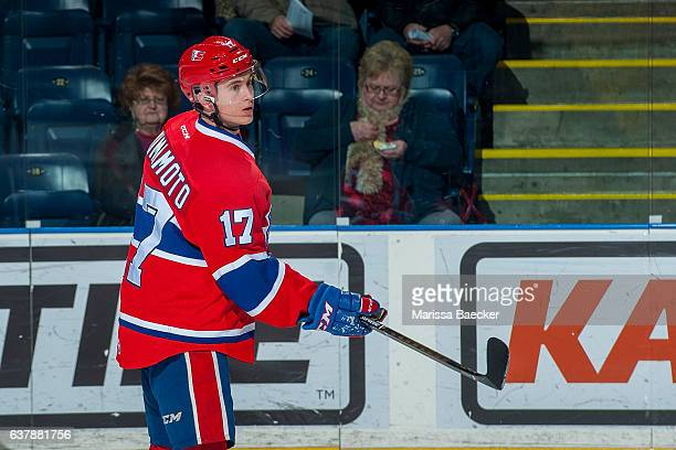 Kailer Yamamoto of the Spokane Chiefs warms up on the ice against the Kelowna Rockets on January 4, 2017 at Prospera Place in Kelowna, British...