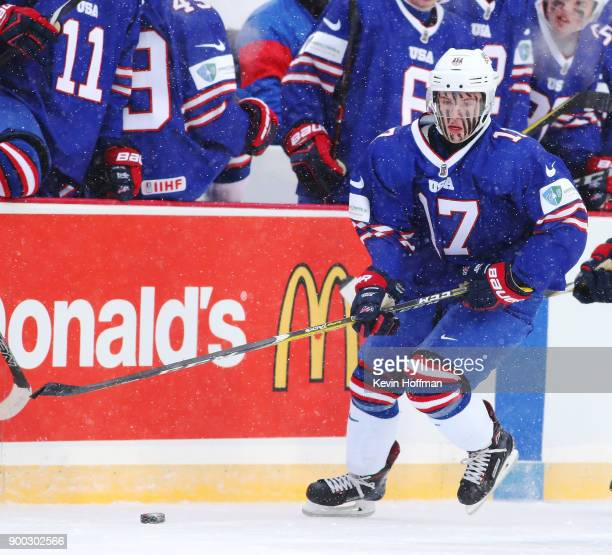Kailer Yamamoto of United States during the IIHF World Junior Championship at New Era Field against Canada on December 29 2017 in Buffalo New York...