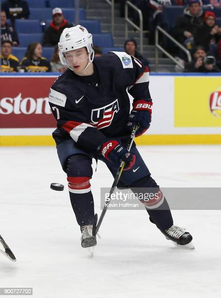 Kailer Yamamoto of United States in the second period against Slovakia during the IIHF World Junior Championship at KeyBank Center on December 28...