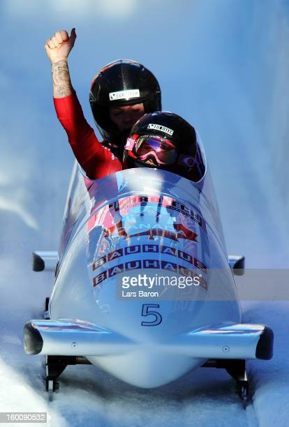 Kaillie Humphries and Chelsea Valois of Canada celebrates after the Women's Bobsleigh final heat of the IBSF Bob & Skeleton World Championship at...